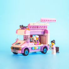 213pcs city Ice cream truck Loego Compatible Enlighten Building Blocks Kids Educational Mobile ice cart Bricks Mini Toys(China)