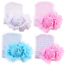 2017 Newborn Baby Hospital Hat Rose Flower Cotton Knitted Skullies Beanies Cap Winter Autumn Photography Props Accessories D30(China)