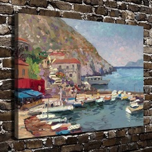 H1047 Thomas Kinkade Island Afternoon Greece, HD Canvas Print Home decoration Living Room Bedroom Wall pictures Art painting