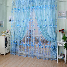 1PC 1M*2M Window Curtains Sheer Voile Tulle for Bedroom Living Room Balcony Kitchen Printed Tulip Pattern Sun-shading Curtain(China)