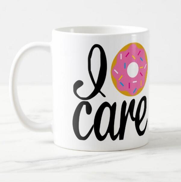 Hot Funny Donut Mug Novelty I Donut Care Coffee Mugs Ceramic Porcelain Milk Travel Mug Cup Creative Cool Gifts I Don't Care 11oz