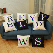2017 New Arrival Super Soft LED Cushion Cover English Alphabet Printing Home Pillow Cushion Cover Pillowcase(China)
