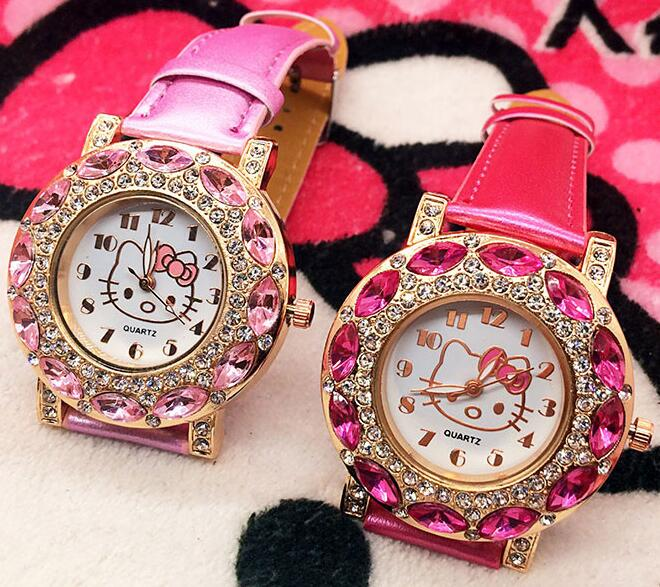 Top Fashion Brand Hello Kitty Quartz Watch Children Girl Women Leather Crystal Wrist Watch Wristwatch Cut Lovely(China)