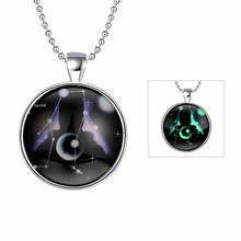 JEXXI Fashion Jewelry Constellation Gemini Pendant Glowing In The Dark Silver Chain Necklace Zodiac Gifts Glass Cabochon