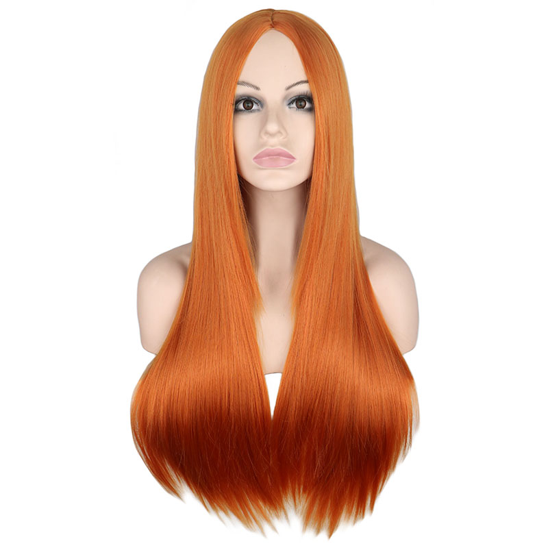 QQXCAIW Long Straight Middle Part Wig Black White Pink Orange Purple Gray Heat Resistant Synthetic Hair Wigs For Women