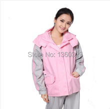 Pink burberry_ women Hooded Raincoat Pant Suits Travel Waterproof Coat Outdoor Jacket Motorcycle Rainwear Free Shipping(China)