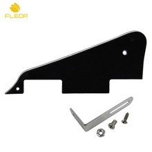 FLEOR Set of LP Guitar Pickguard 3Ply Black With Silver Bracket for LP Style Guitar