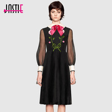Jastie Pink Satin Bow Embroidered Dress Floral Sequin Bead Autumn Dress Women Italy Sheer Long Sleeve Pleated Dresses Vestidos(China)