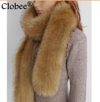 2019 Winter Thick Warm Solid Color X-Long Raccoon Faux Fur Scarf Big Fur Collar Retro Elegant  Faux Fox Fur Scarves V762