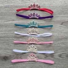 Retail Newborn DIY Thin Elastic Kids Headbands with Rhinestone Tiara Boutique Girls Hair Accessories with Metal Pearl Crown