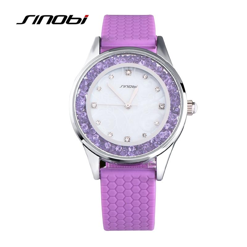 SINOBI Fashion Womens Diamonds Wrist Watches Silicone Watchband Top Luxury Brand Ladies Geneva Quartz Clock Females Hours 2017<br><br>Aliexpress