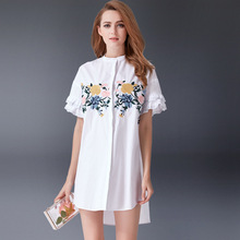Designer Fashion 2017 women summer white flower embroidery Flare Sleeve long Asymmetry casual work beach Boho Cotton dress 9388(China)