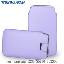 TOKOHANSUN  For samsung 5230 S5230 S5230C 13 Colors PU Leather Pull Tab Sleeve Pouch Bag Case Cover Cell Phone Cases Bags Shell