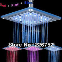 Hot sale Square No Battery Temperature Sensor 3 Colors Changing LED Shower Head Top Rain Shower for Home Bathroom LD8030-B5