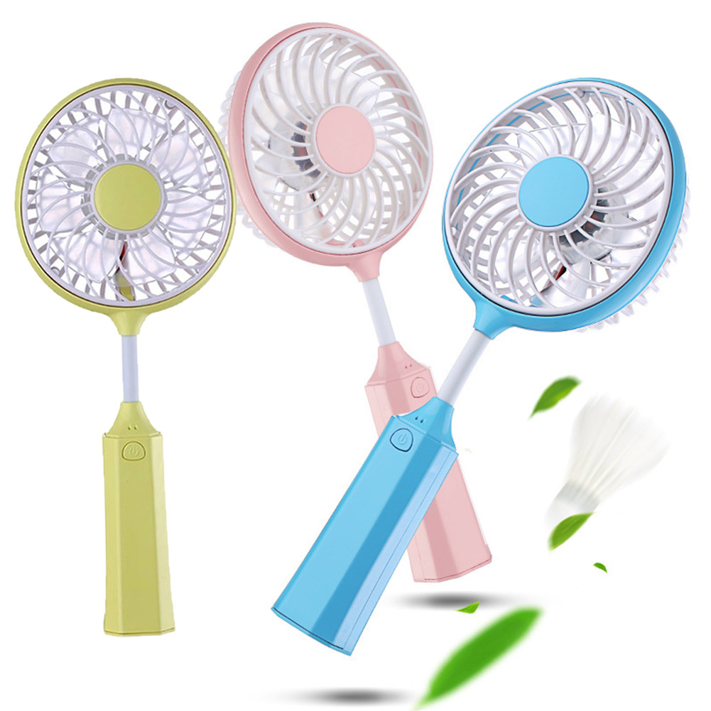 Foldable Hand Fans Micro Rechargeable Badminton Racket Design USB Charge Fans For Home Office Car Travel QJY99(China (Mainland))