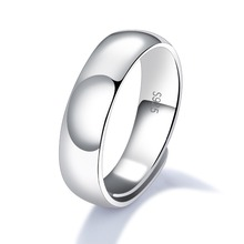 Classic 925 Sterling Silver Rings For Men Simple & Smooth Design Resizeable 4.6mm Width Options Never Fade Open Band SJ003