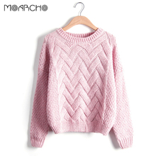 MOARCHO Autumn Winter Woman Sweater 2017 Pullover Plaid Solid Thick Knitting Mohair Sweaters Female Loose Variegated top wear(China)