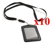 Black 10 Set of Faux Leather Business ID Badge Card Holder with Long Neck Strap Band Lanyard (36 inch full round length) (10 Set