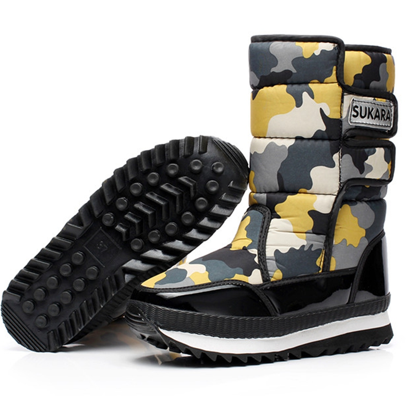 2017 Winter outdoor Camouflage japanned leather womens knee-high snow boots slip-resistant waterproof boots women warm shoes<br><br>Aliexpress