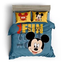 Mickey Mouse Printed Comforter Bedding Sets Children's Bedroom 600TC Cotton Bed Covers Single Twin Full Queen Size Blue Yellow