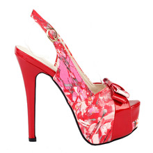 LF80904 Fab Red Floral Bow PeepToe Slingback Stiletto Platform EVE Pump Size 4 5 6 7 8 9(China)