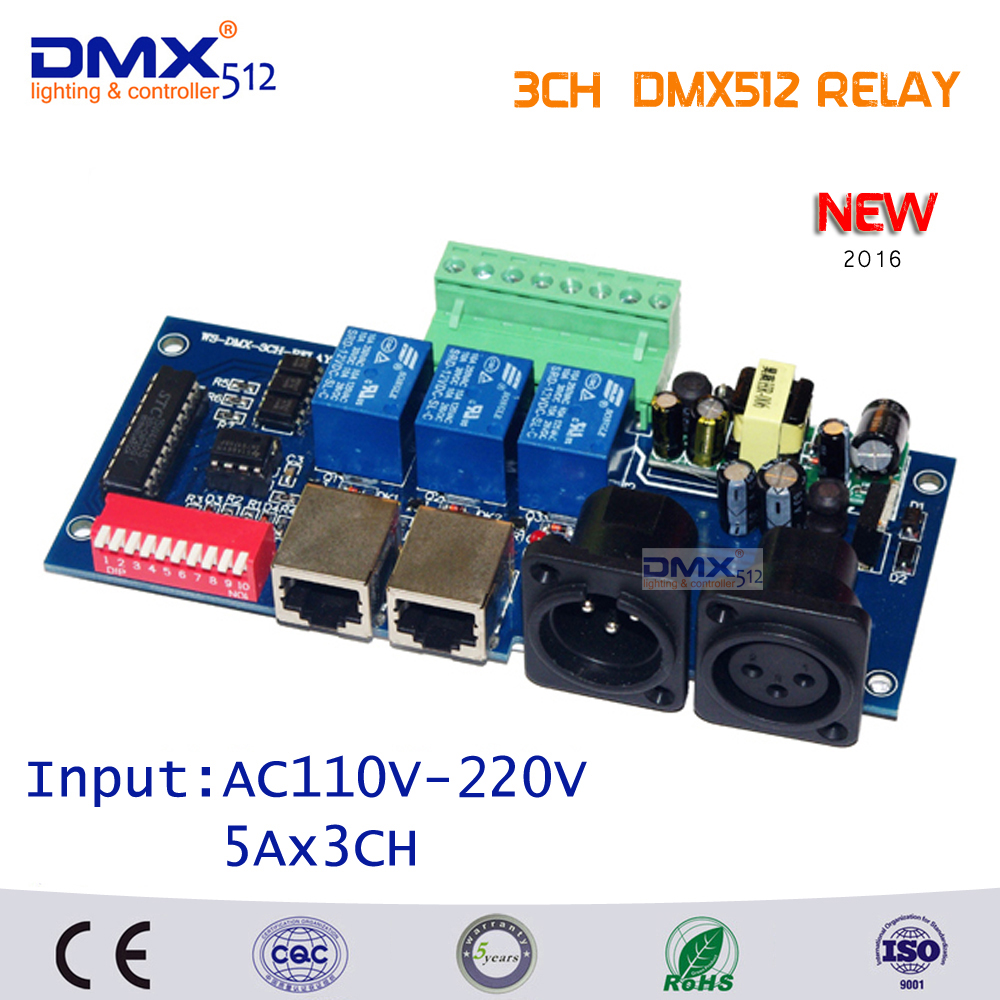 Free Shipping 3CH dmx512 relay board DMX 512 relay switch Input AC110-220V  DMX512 relay decoder<br>