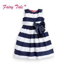 Kids Baby Girls Sleeveless One Piece Dress Blue White Striped Bow Summer Tutu Dress 1-5Y(China)