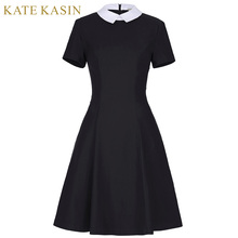 Kate Kasin Office Dresses Women 2017 Summer New Fashion Short Sleeve Pencil Dress Ladies Casual Work Dress With White Collar(China)