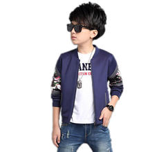 For 4-16T Spring 2017 Zipper Children Boys Jackets and Coat Baseball Wear Flowers printed Patchwork Boys Kids Jackets Outerwear