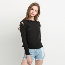 MY MAYAASOS Solid Black Women Sexy Casual T-shirt Street Hollow Out Cold Shoulder Tops Autumn O Neck Lace Up Basic Tees