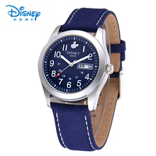 Disney Watch Men Water Resistant Quartz Sports Men Watches Top Brand Luxury Canvas Leather Band Casual Mickey Mouse Wrist Watch(China)