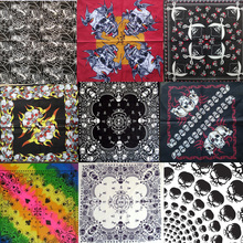 2017 New Fashion Hip Hop 100% Cotton Skull Bandana Square Scarf Black Red Paisley Headband Printed For Women/Men/Boys/Girls(China)