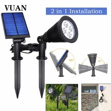 Upgraded Solar Powered LED Spot Light 2 in 1 Installation Waterproof Separated Panel and Light Outdoor Landscape Lighting