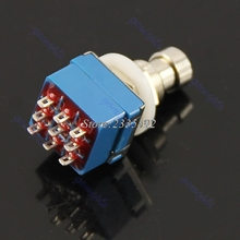 Free Shipping Foot Metal Switch True Bypass New 1pcs 9-pin 3PDT Guitar Effects Pedal Box Stomp
