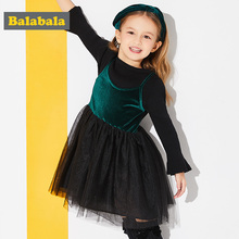Balabala girls princess dress spring clothing for children toddler girl clothing Long Sleeve fashion Christmas Dress for Girls(China)