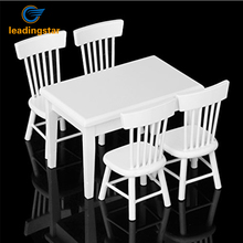 LeadingStar 5pcs White Dining Table Chair Model Set 1:12 Dollhouse Miniature Furniture Great Children Gift zk30(China)