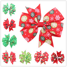 50pcs Large dog bows Alloy Clip Christmas Designs Big dog hair bows for holidays pet dog hair accessories pet grooming products