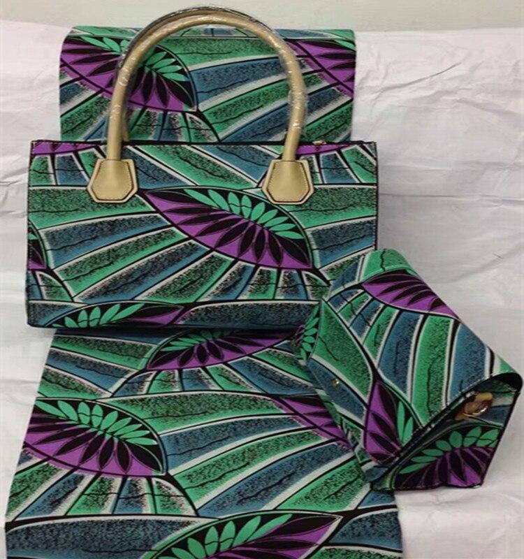 Африканские женские сумки и сумочки соответствует 6 ярдов/lot Фиолетовый и бирюзовый узор супер воск Hollandais для шитья одеяла Sep-14-2017)(China)