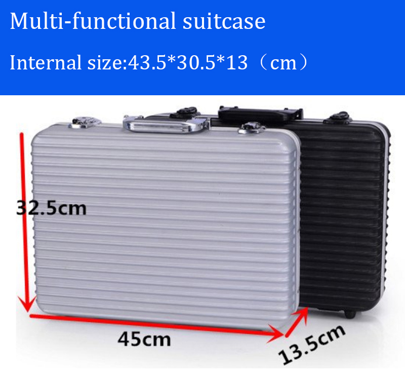 box aluminium tool case magic props file storage Hard Carrycarrying box tool for Hand Gun Locking Pistol Multifunction<br>