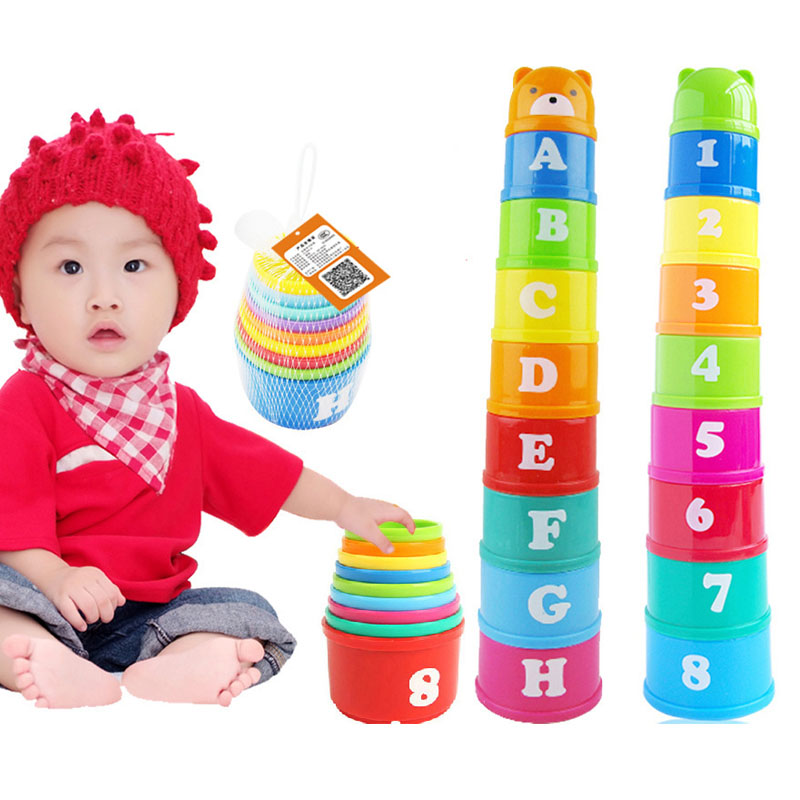 New Arrival Baby Child New Hot 9 Stacking Stacks Nest Tower Cups Count Number Letter Learning Play Toy for Kids Free Shipping-50<br><br>Aliexpress