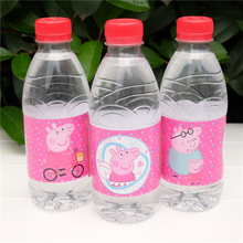 12pcs Pink Pig Cars water bottle label candy bar decoration kids birthday party supplies baby shower(China)