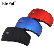 BinFul Mini USB 2.4G Wireless USB Optical Foldable Arc Mouse Snap-in Transceiver Portable Folding Mice for Laptop PC Computer(China)