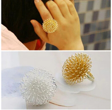 ra180 New Hot Selling Fashion Sweet Girl Silver Gold Shiny Exaggerated Multilayer charming Large Dandelion Flowers Ring