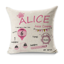 Decorative Cushion Cover Customized Gift With Birthday Baby Girl Boy Cushion Birth Data Crown Pattern Pillow Case Customize(China)