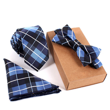 Mantieqingway Fashion Tie Set Necktie Pocket Square Towel Bow Tie Set Mens Suit Papillon Corbatas Handkerchief Slim Tie gravata