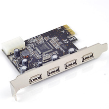 USB 2.0 PCIE PCI-Express x1 card 4 External USB2.0 Ports 4pin power supply Moschip