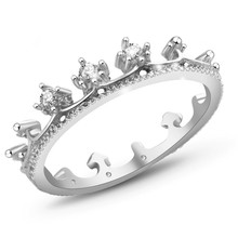 Elegant Queen's Silver Crown Ring For Women Punk New Brand Fashion Crystal Jewellery Lady Rings Femme Bijoux nz290(China)
