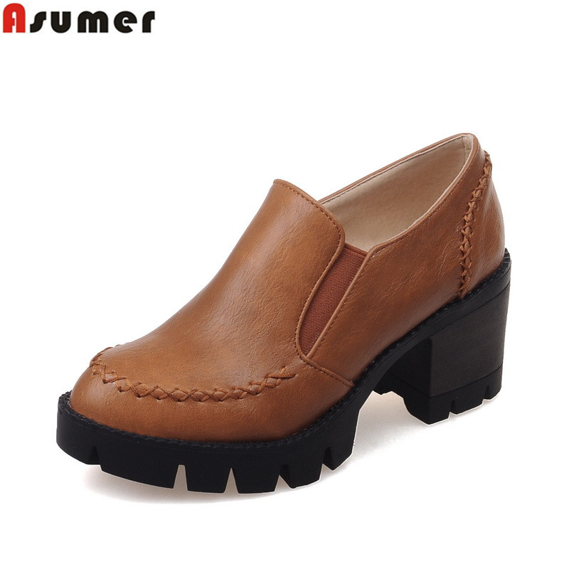 ASUMER Plus size 34-43 new fashion slip on women pumps high quality thick high heels platform shoes woman(China (Mainland))