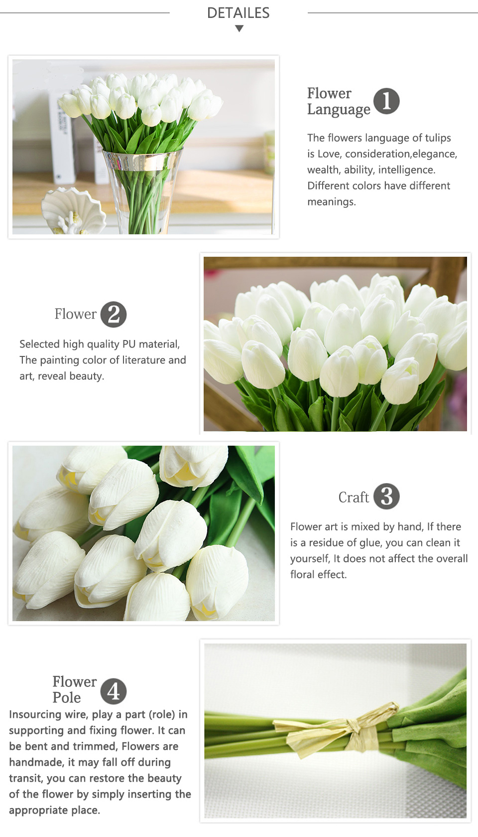 1pc PU Tulip Artificial Flowers Mini Tulip Flower Real Touch Wedding 10 Colors Fake Flowers Tulips For Home Decoration_03