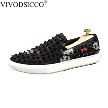 VIVODSICCO Men Loafers Super star Men Shoes Sapato Masculino Zapatos Hombre  Low Top Casual Shoes Men Flats Rivets Embellished 05acf777d870